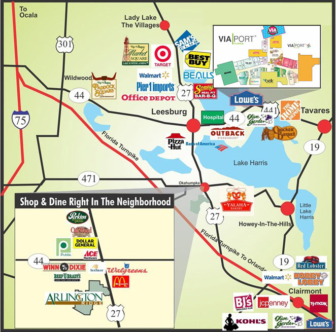 Location Map Arlington Ridge Florida Retirement Community